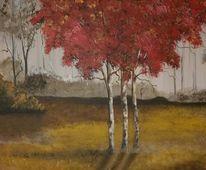 Grau, Baum, Rot, Nebel