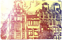 Farben, Häuser, Wolken, Zeichnung