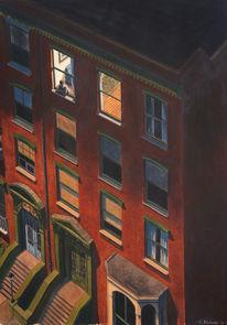 Nacht, Rot, Stadtlandschaft, Figurativ
