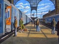 Bahnhof, Wasserfarben, Zug, Menschen