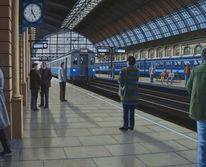 Zug, Gemälde, Menschen, Ölmalerei