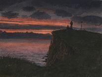 Sonnenuntergang, Gemälde, Schwarz, Rot