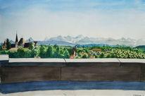 Gemälde, Realismus, Bergen, Wasserfarben