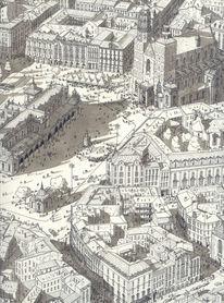 Stadt, Zeichnung, Tusche, Straße