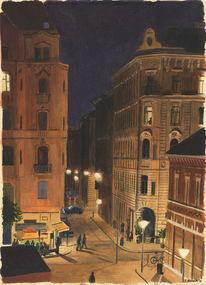 Nacht, Realimus, Gaststätte, Aquarellmalerei