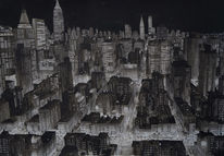 Nacht, Stadt, New york, Malerei
