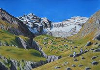 Schweiz, Gelb, Tal, Wasserfarben