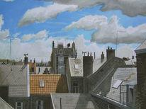 Aquarellmalerei, Wolken, Blau, Stadt