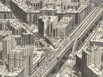 Zeichnung, Realismus, Manhattan, Bahn