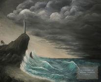 Leuchtturm, Gewitter, Wolken, Dunkel