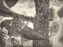 Baum, Rinde, Druckgrafik, Schwarz weiß