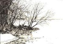 Küste, Einsamkeit, Frischer wind, Zeichnung