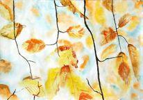 Blätter, Äste, Himmel, Herbst