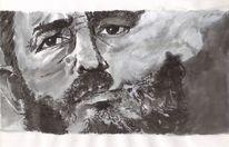 Portrait, Mann, Augen, Schwarz weiß