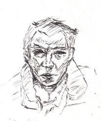 Ausdruck, Zeichnung, Schwarz weiß, Gesicht