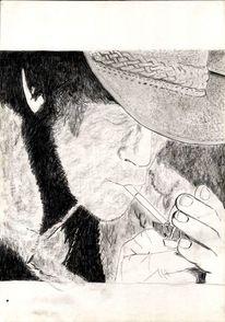 Cowboy, Bleistiftzeichnung, Wild, Zeichnung