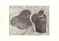 Schuhe, Druckgrafik, Grau, Radierung