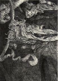 Tuschmalerei, Schwarz weiß, Zeichnung, Feder