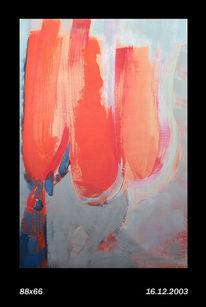 Temperamalerei, Orange, Frau, Rot
