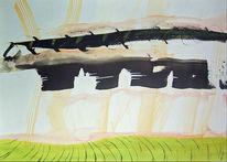Grün, Landschaft, Hellrot, Tuschmalerei