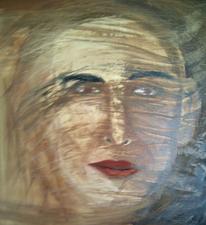 Mann, Wind, Gesicht, Ölmalerei