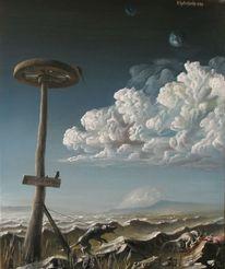 Schwarz, Wind, Surreal, Turm