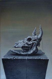 Ölmalerei, Tod, Surreal, Stier