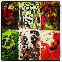 Augen, Portrait, Acrylmalerei, Surreal