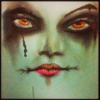 Surreal, Gesicht, Augen, Kreide