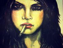 Realismus, Augen, Acrylmalerei, Kohlezeichnung