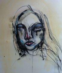 Gesicht, Augen, Pastellmalerei, Abstrakt