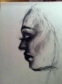 Kreide, Gesicht, Kohlezeichnung, Portrait