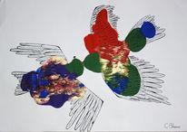Flügel, Acrylmalerei, Fliegen, Tuschmalerei