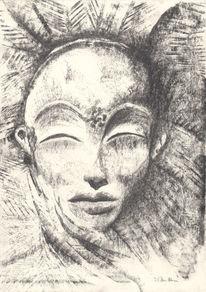 Mystik, Portrait, Graphitzeichnung, Maske oder mensch