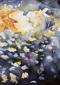 Wasser, Herbst, Niederrhein, Laub