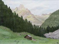 Baum, Berge, Einsamkeit, Wald