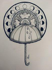 Regenschirm, Tuschmalerei, Mandala, Kompass