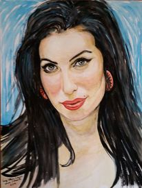 Amy winehouse portrait, Gouachemalerei, Speyer, Heinz