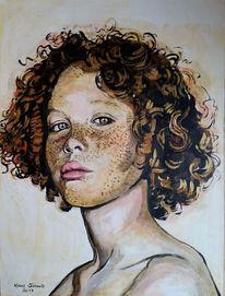 Portrait, Locken, Acrylmalerei, Malerei