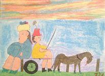 Kutsche, Pferde, Frau, Malerei