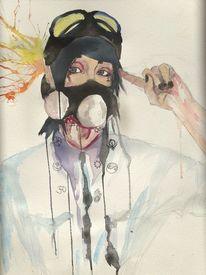 Ölmalerei, Welt, Bunt, Öl gasmaske