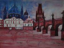 Aquarell, Zyklus, Architektur, Prag