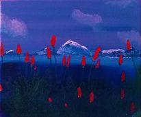 Blumen, Landschaft, Rot, Wasser