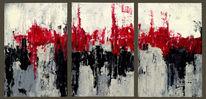 Spachteltechnik, Rot schwarz, Grau, Triptychon