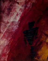 Mischtechnik, Dunkel, Rot, Acrylmalerei