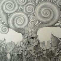 Baum, Höhle, Schneckenhaus, Zeichnungen