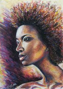 Portrait, Afro, Pastellmalerei, Malerei