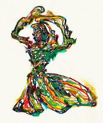 Abstrakt, Tusche, Aquarellmalerei, Feder