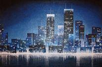 Malerei, Blau, Skyline