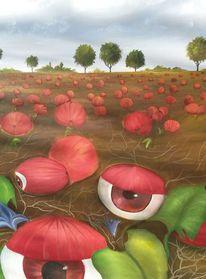 Kürbisse, Augen, Landschaft, Malerei